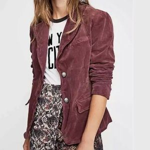 FREE PEOPLE Corduroy Button Jacket Mulberry Blazer